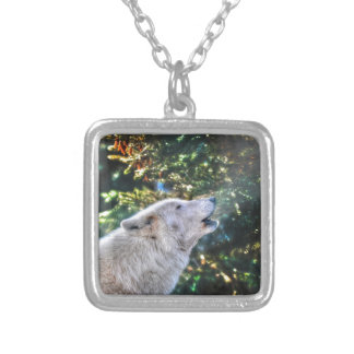 Howling Grey Wolf Wildlife Photo Silver Plated Necklace