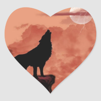 Howling In The Night Heart Sticker