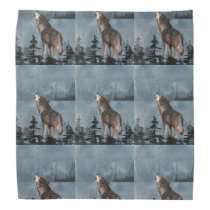 Howling Lonely Wolf Animal Art Bandana