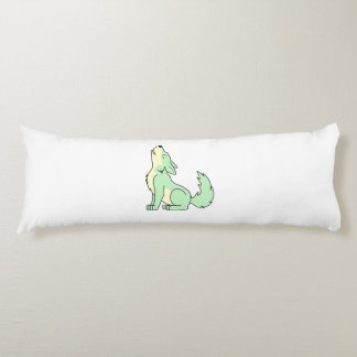 Howling Pastel Green Wolf Body Pillow
