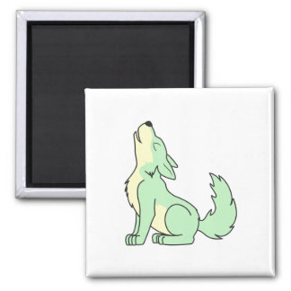 Howling Pastel Green Wolf Magnet