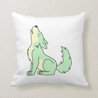 Howling Pastel Green Wolf Pillows