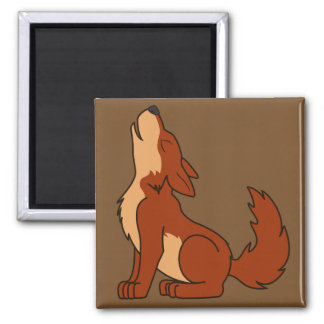 Howling Red Wolf with Natural Markings 2 Inch Square Magnet