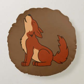 Howling Red Wolf with Natural Markings Round Pillow