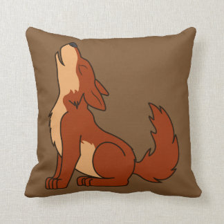 Howling Red Wolf with Natural Markings Throw Pillows