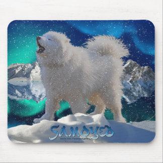 Howling Samoyed Dog, Aurora & Snow Pet Mousemat Mouse Pad