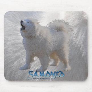 Howling Samoyed Dog on Samoyed Fur BG Pet Mousemat Mouse Pad