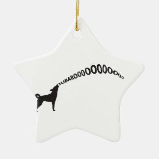 Howling Subaru Dog Ceramic Ornament