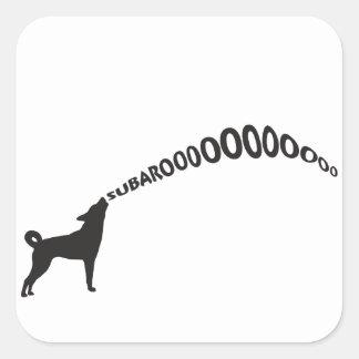 Howling Subaru Dog Square Sticker
