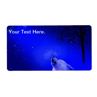 Howling Timber Wolf in the Snow Lite Night Shipping Label
