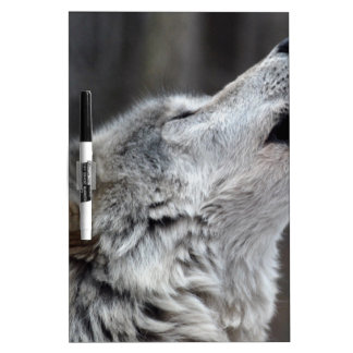 Howling Tundra Wolf Dry Erase Board
