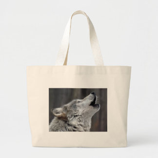 Howling Tundra Wolf Large Tote Bag