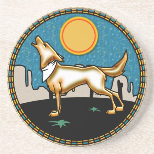 Howling Under the Full Moon Beverage Coaster