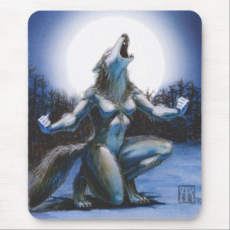 Howling Werewolf Woman Mousepad