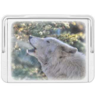 Howling White Arctic Wolf & Forest Wildlife Photo Cooler