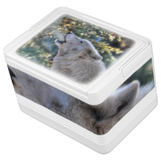 Howling White Arctic Wolf & Forest Wildlife Photo Drink Cooler