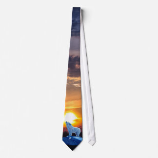 Howling White Arctic Wolf & Sunset Wildlife Tie
