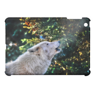 Howling White Arctic Wolf Wildlife Photo Cover For The iPad Mini