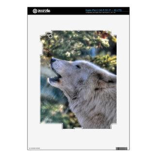 Howling White Arctic Wolf Wildlife Photo iPad 3 Decals