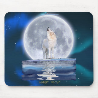 Howling White Wolf & Moon Wildlife Fantasy Mouse Pad