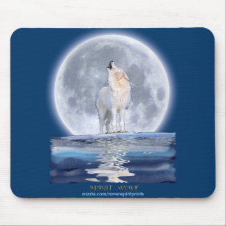 Howling White Wolf & Moon Wildlife Mouse Pad