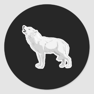 howling white wolf sticker