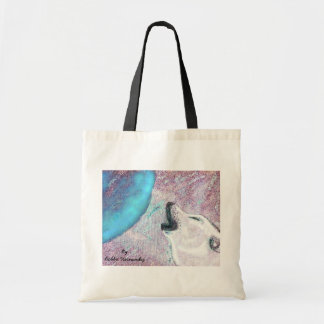 Howling wolf and moon tote bag