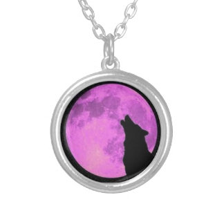Howling Wolf and Purple Moon Silver Plated Necklace