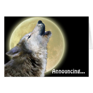 Howling Wolf Art Wildlife Announcement Card