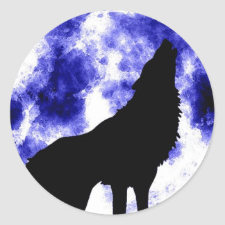 Howling Wolf at Moon Classic Round Sticker