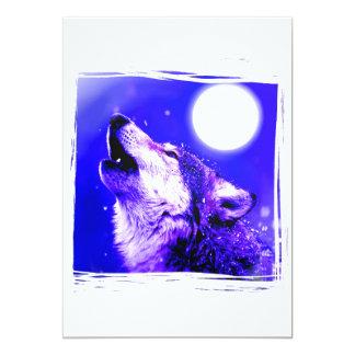 Howling Wolf at Moon Invitation