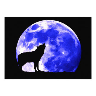 Howling Wolf at Moon Invitation