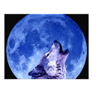 Howling Wolf at Moon Invitations