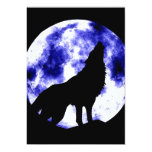 "Howling Wolf at Moon Invitation 5"" X 7"" Invitation Card"
