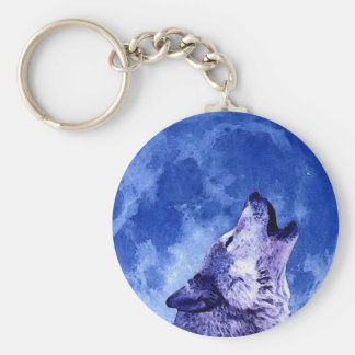 Howling Wolf at Moon Basic Round Button Keychain