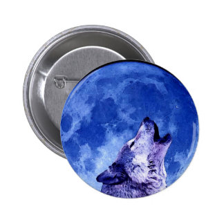 Howling Wolf at Moon Pinback Button