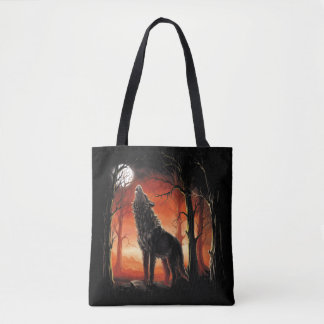 Howling Wolf at Sunset All-Over-Print Tote Bag