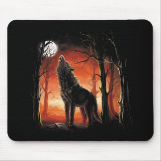 Howling Wolf at Sunset Mouse Pad