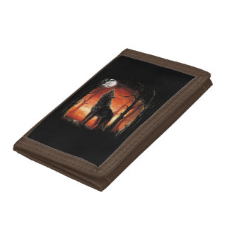 Howling Wolf at Sunset TriFold Nylon Wallet