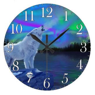 Howling Wolf & Aurora Wildlife Art Clock