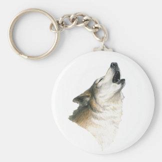 Howling Wolf Basic Round Button Keychain