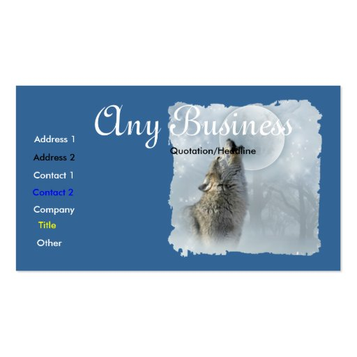 Howling Wolf busines card cutomizable Business Card