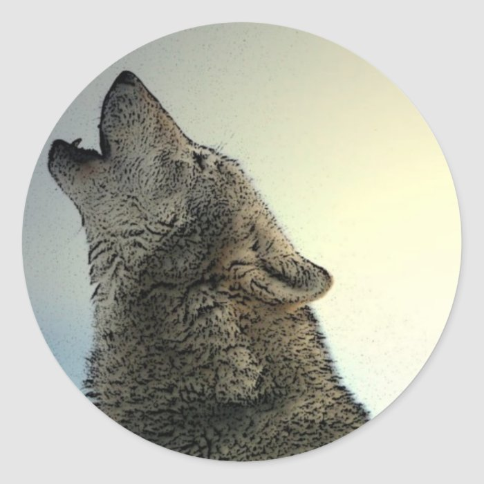 Howling Wolf Classic Round Sticker