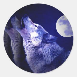 Howling Wolf Classic Round Sticker