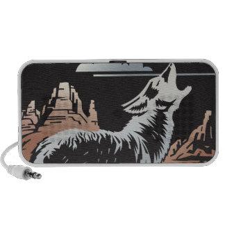 howling wolf coyote scene notebook speaker
