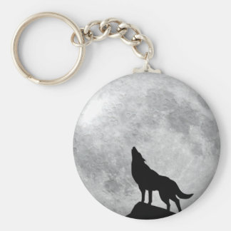 Howling Wolf Full Moon Keychain