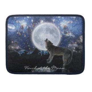 Howling Wolf & Full Moon Wildlife MacBook Sleeve