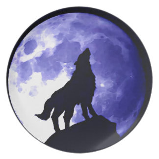Howling Wolf & Fullmoon Melamine Plate