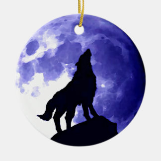 Howling Wolf & Fullmoon Double-Sided Ceramic Round Christmas Ornament