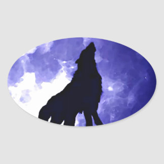 Howling Wolf & Fullmoon Oval Sticker